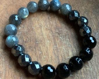 Protection Bracelet   I am Safe   Chunky Labradorite, Hematite + Onyx   10 mm   Spiritual Junkies   Yoga Mala Bracelet
