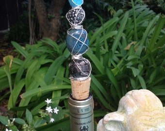 Beaded Wine Stopper with Natural Cork Wire Wrapped