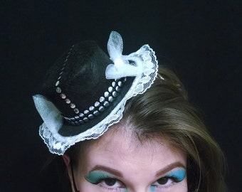 Black Studded Tiny Top Hat with White Bows and White Lace
