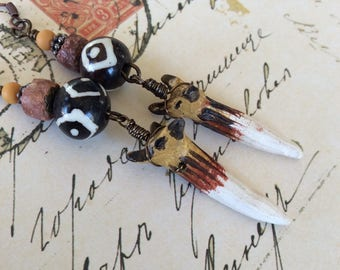 On The Hunt...Fox Earrings, Artisanmade, African Beads, Tribal, Earthy, Warm, Southwest, Organic, Rustic Assemblage, JustSlightlyVintage