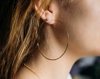 large 14kt gold filled hammered hoop earrings // handmade // martha's vineyard to california