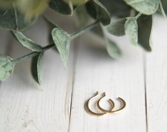 small 14kt gold vermeil hammered huggie hoop earrings // handmade // martha's vineyard to california