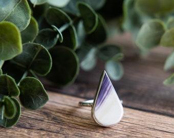 sterling silver teardrop quahog shell ring // size 6.5 // handmade // martha's vineyard to california