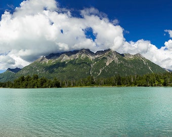 Crescent Lake, Mountains, Alaska Landscape,  Landscape Photography, Lakes, Fine Art Photography, Nature Photography, Panoramic Photos
