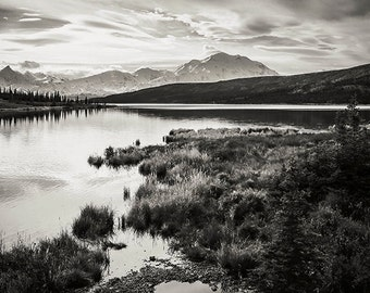 Denali National Park, Alaska Lakes, Denali Landscape, Black and White Landscape, Fine Art Photography, Nature Photography, Wonder & Peace