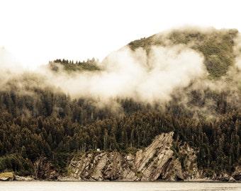 Alaska Landscape, Kenai Fjord Alaska, Fine Art Landscape, Mountain fog, Tiny House Landscape, Faded, Cliffs and Pine Trees, Resilience