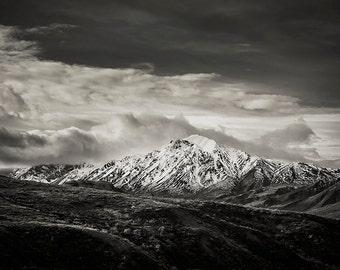 Denali National Park, Snowy Mountain, Alaska Mountain Landscape, Alaska, Nature, Black and White Landscape, Forever Frozen