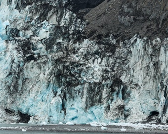 Alaska Glaciers, Fine Art Landscape and Seascape Photography, Kenai Fjord Alaska, Colorful Glaciers,  Alaska, Black and Blue