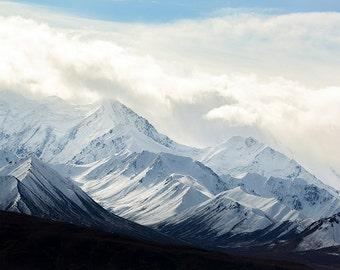 Denali National Park, Snowy Mountains, Alaska Landscape, Black and White Landscape, Fine Art Photography, Nature Photography, Clash