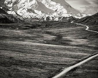 Mount McKinley, Denali National Park, Alaska Mountains, Black and White Landscape, Snowy Mountains, Arctic Landscape, Nature, Beacon