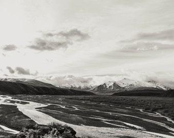 Alaska Landscape, Fine Art Landscape Photography, Denali National Park, Nature, Glaciers , Snowy Mountains, Black and White, Etched