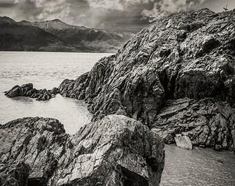 "Shoreline Photography, Alaska Landscape, Nature Wall Art, Fine Art Photography Print, Black and White Landscape, ""On the Rocks"""