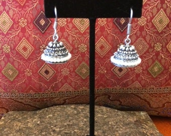 Gold or Silver Metal Jhumkis with Pearls