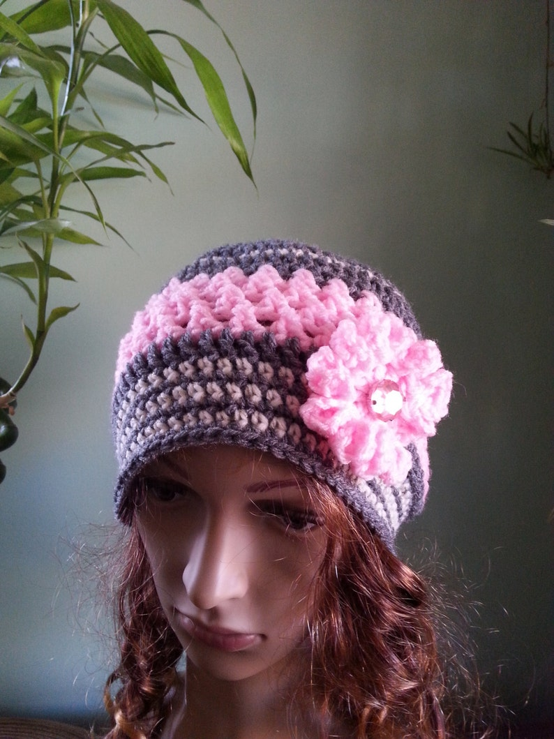 Crochet Hat Winter Hat, Pink And Grey Hat Woman Crochet Hat Beanie