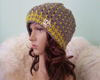 Winter Hat Woman Crochet Hat Hat With Brooch Crochet Beany