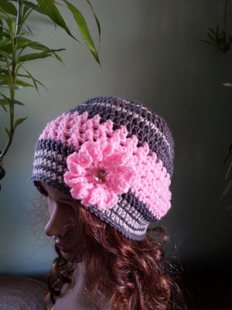 472b47e29d4c0 Crochet Hat Woman Crochet Hat Pink And Grey Hat Beanie