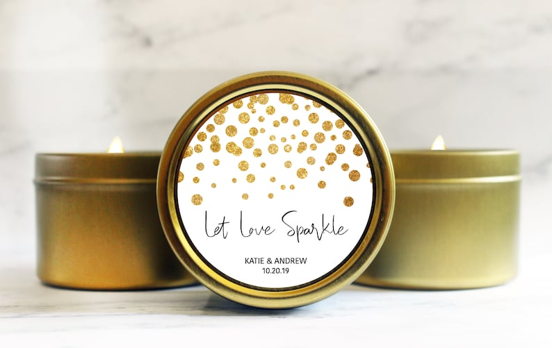 Let Love Sparkle Candle  Candle Wedding Favor  New Years Eve image 0