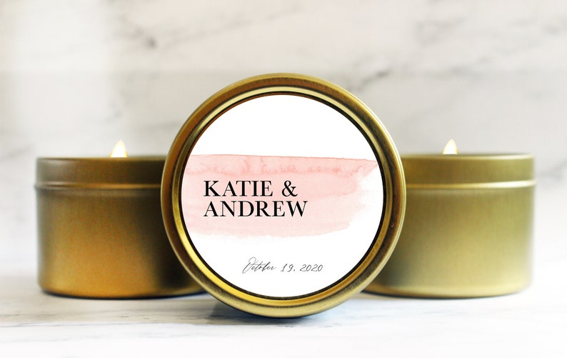Candle Wedding Favor  Watercolor Bridal Shower Favor Candle  image 0