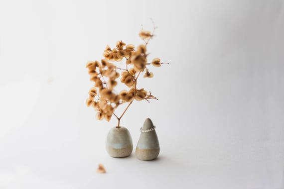 Stoneware Vase & Ring Cone Pair in Ice Dip
