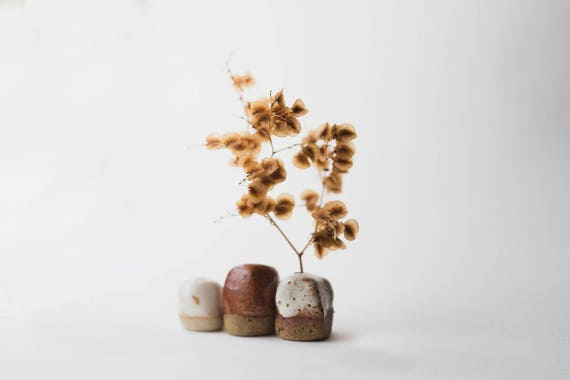 Three Tiny Bud Vases in Stoneware