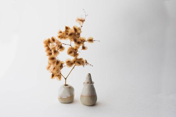 Stoneware Vase & Ring Cone Pair in Vanilla Dip