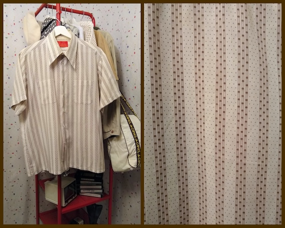 White Short Sleeve Button Down with Brown Stripe a