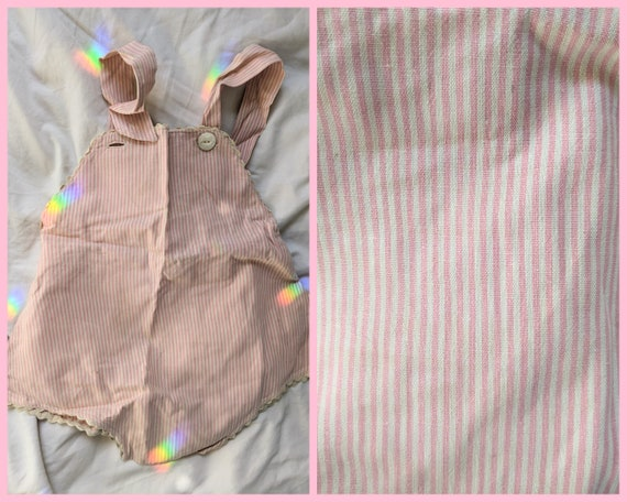 Pink Striped Baby Overalls from 1920s/30s