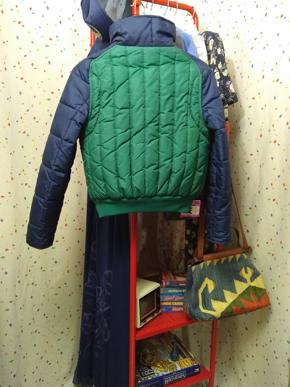 Blue and Green 80s Ski Jacket S/M - image 4