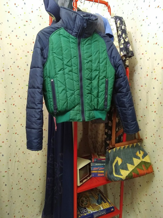 Blue and Green 80s Ski Jacket S/M - image 2