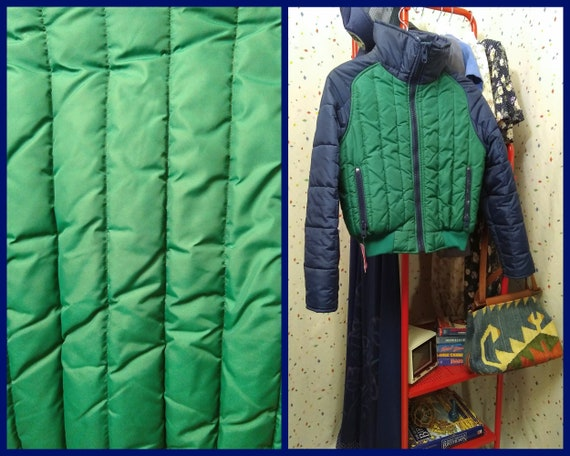 Blue and Green 80s Ski Jacket S/M - image 1