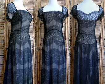 Vintage 1930s Black Chantilly Lace Illusion Dress - Small