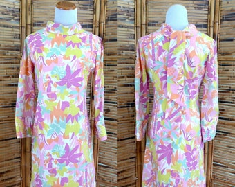 CLEARANCE! 1960s Psychedelic Flora and Fauna Novelty Print Shift Dress with Bell Sleeves - Extra Small/Small