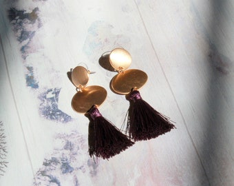 080715827893b Retro Maroon Silk Tassel Earrings    Sunset Earrings with Post Backs