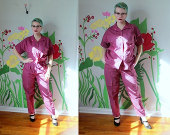 7a8aeccf40 Cyndi Two Piece Set    Vintage 1980 s - 1990 s Funky Hot Pink   Black  Striped Velcro Front Shirt and High Waist Pants by Sparks 90 s Size M