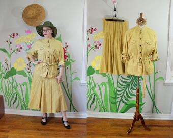 22b185c4e5d0e Vintage 1980 s Safari Skirt Set    Khaki Colored Cotton Midi Skirt   Button  Down Top