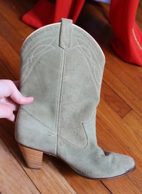 Boots 1970's Vintage US For Leather Soft Stacked Heels Drive You Rodeo Women's Mint Boots Mint Boots Size 7M with Green Cowboy ATIxw4qnTU
