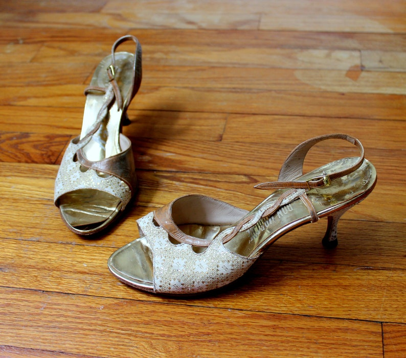 1e41fd0291795 Vintage 1950's Peep Toe Heels //Marilyn Shoes Amano Gold & Ivory Leather  and Lace Strappy High Heel Sandal Size 6
