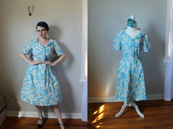 Ava Dress // Vintage 1940's White Day Dress with P