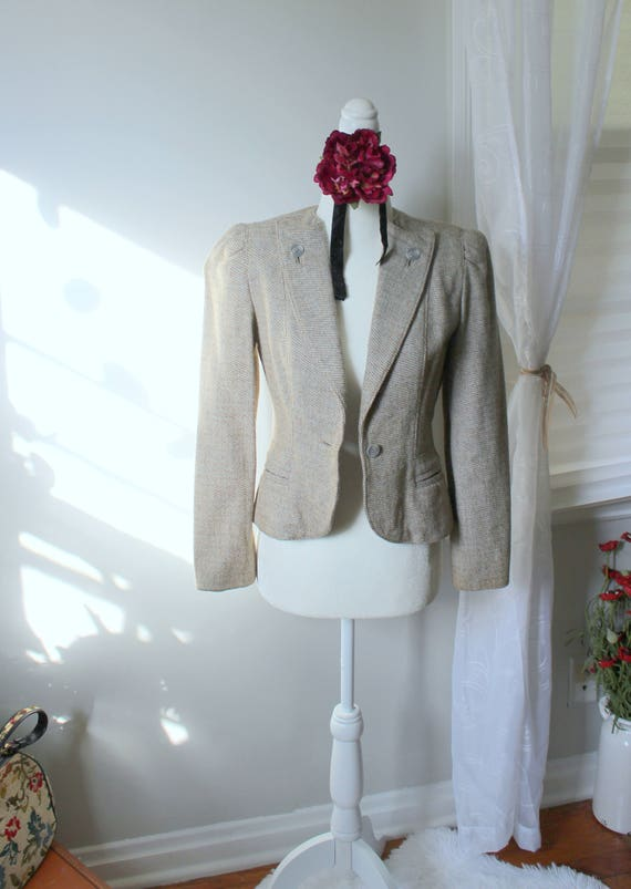 Vintage Peabody House Jacket // Oatmeal Colored Tw