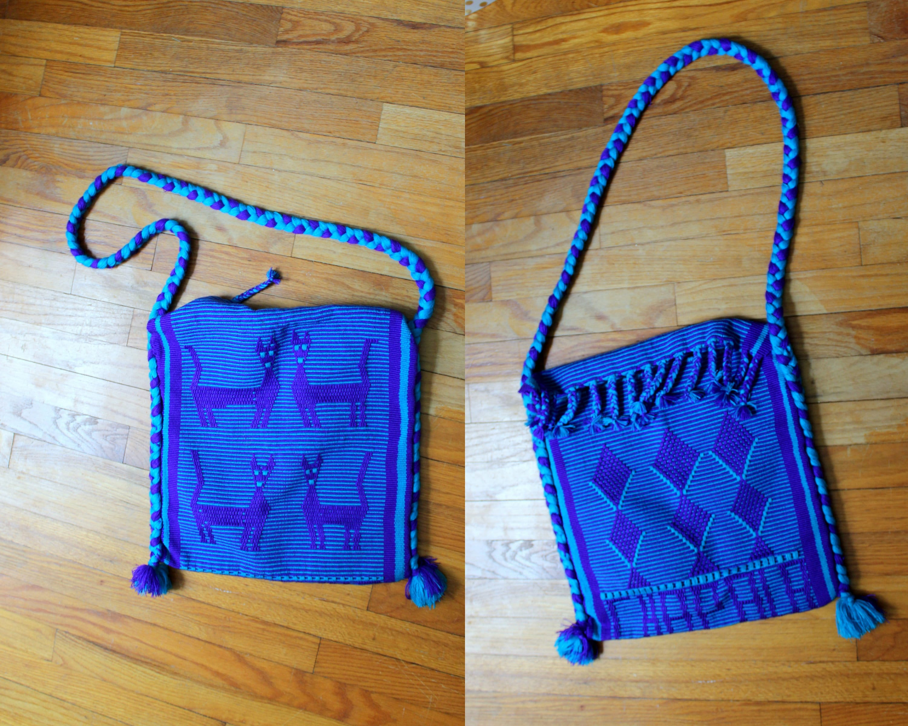 44d7d16064 Cat Bag // Vintage Woven Blue & Purple Yarn Tote Bag with | Etsy