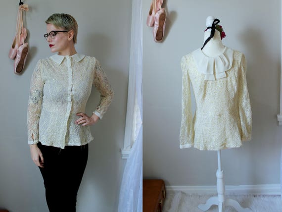 f70acb12997cd Vintage 1980 s Ivory   Touch of Gold Lace Blouse with