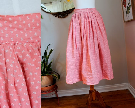 Calico Skirt // Vintage 1960's Peachy Pink Cotton