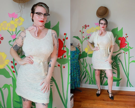 Vintage 1940's Ivory Knit Dress & Cardigan Set //