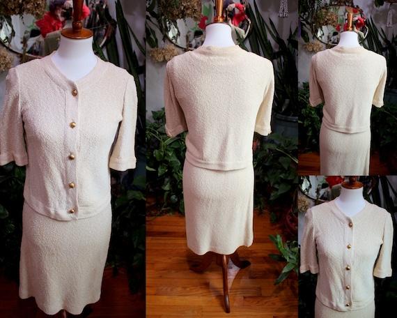 Jolene Dress Set // Vintage 1930's - 1940s Oatmea… - image 2