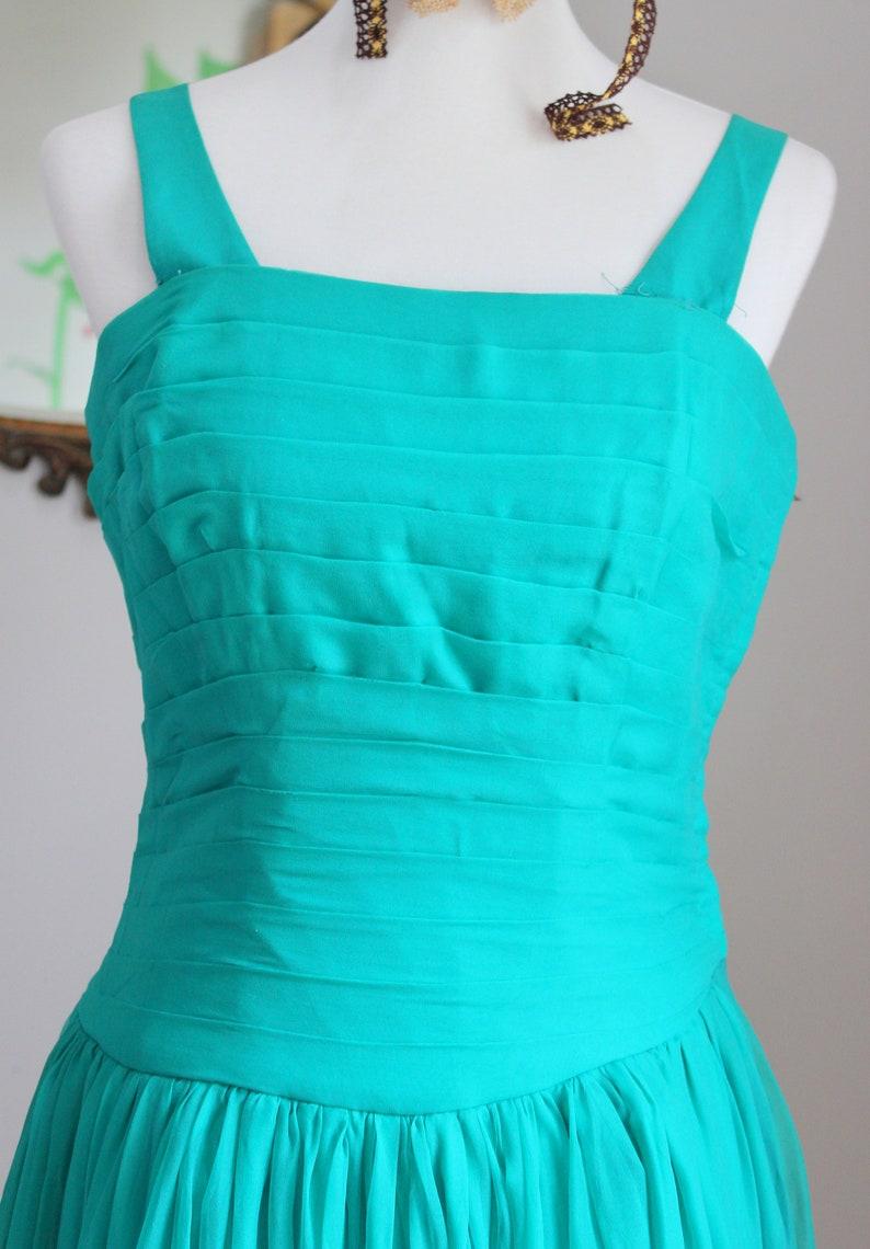 FINAL SALE Vintage Drew Dress  1950/'s Aquamarine Chiffon Prom Dress