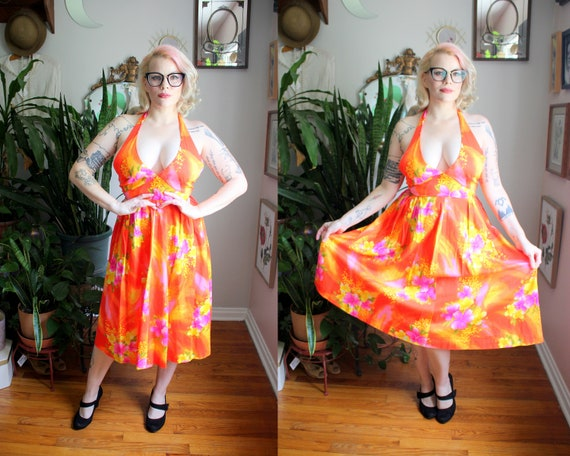 Delilah Dress // Vintage 1950's - 1960's Bold, Br… - image 1