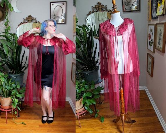 Rose Dressing Gown // Vintage 1960's 1970's Dark W