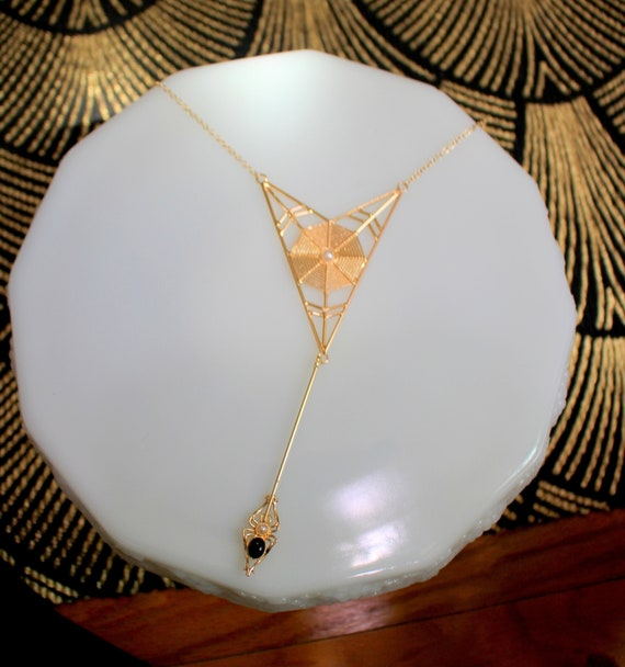 Web Weaver Necklace // Reproduction 1940's Gold To