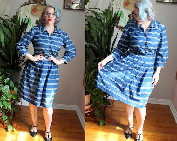 AS IS 40s Rayon Blue Plaid Shirt Waist Dress Pinup Wiggle Size M  L