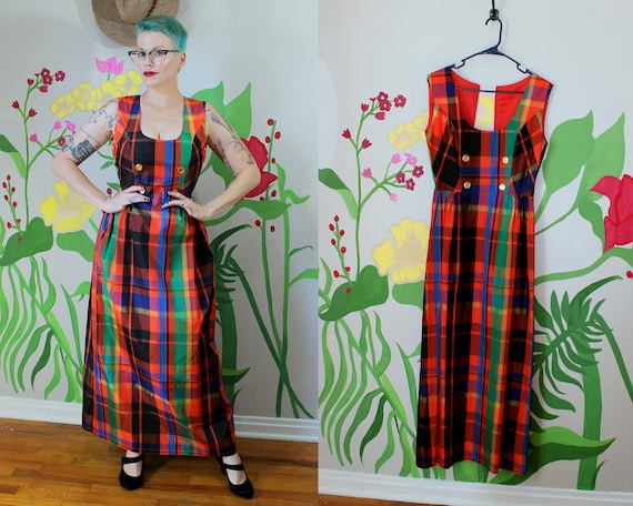1960's Plaid Nylon Maxi Dress // Autumn Dress